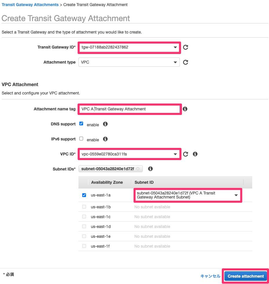 VPC AのTransit Gateway Attachmentの作成