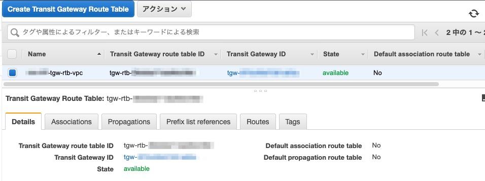 VPC用のTransit Gateway Route Tableの確認