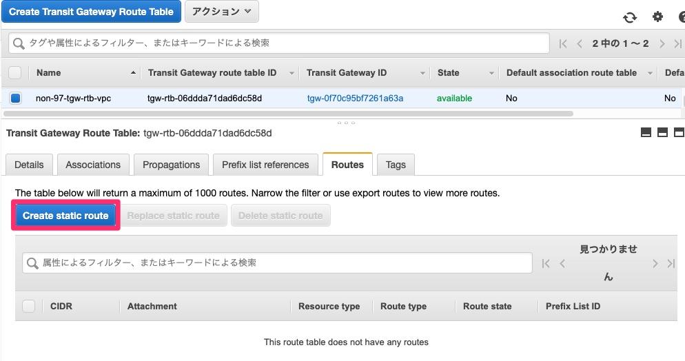 VPC用Transit Gateway Route Tableのルート設定前