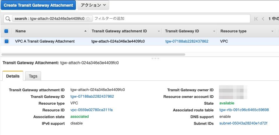 VPC AのTransit Gateway Attachment