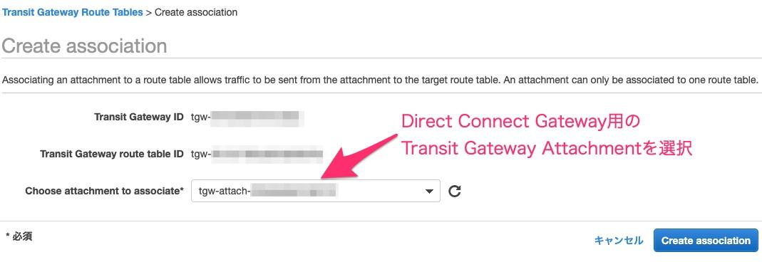 Direct Connect Gateway用のTransit Gateway Route TableとTransit Gateway Attachmentとを関連付け設定