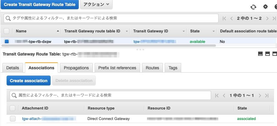 Direct Connect Gateway用のTransit Gateway Route TableとTransit Gateway Attachmentとを関連付け確認