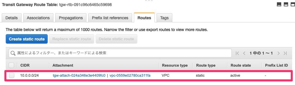 VPC AのTransit Gateway Attachmentへのルーティング