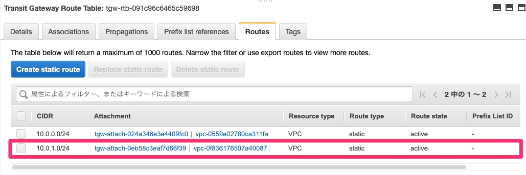 VPC BのTransit Gateway Attachmentへのルーティング