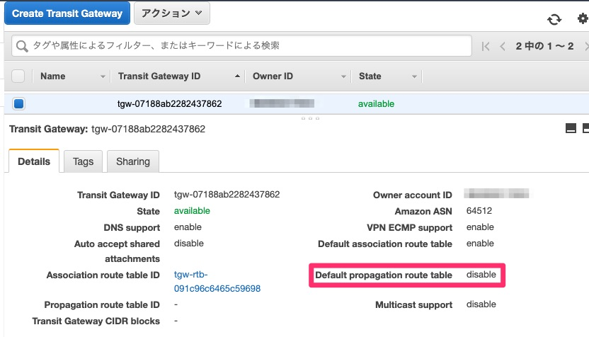 Default propagation route table無効後のTransit Gateway