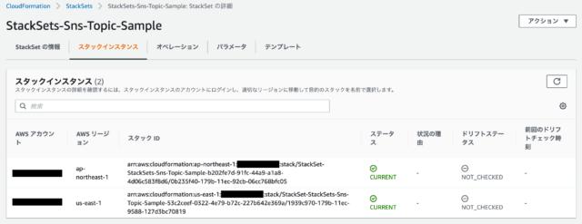 CloudFormation StackSetsで管理しているスタックの様子