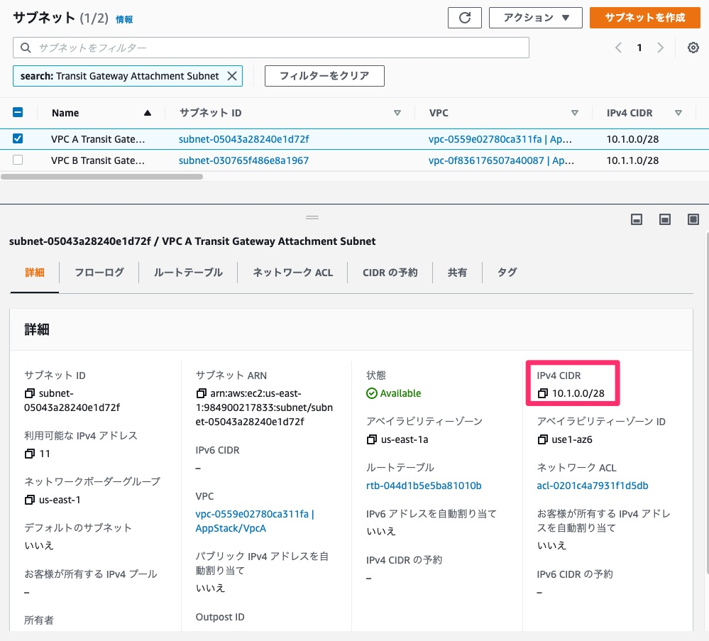 VPC AのTransit Gateway Attachment用のサブネットの確認
