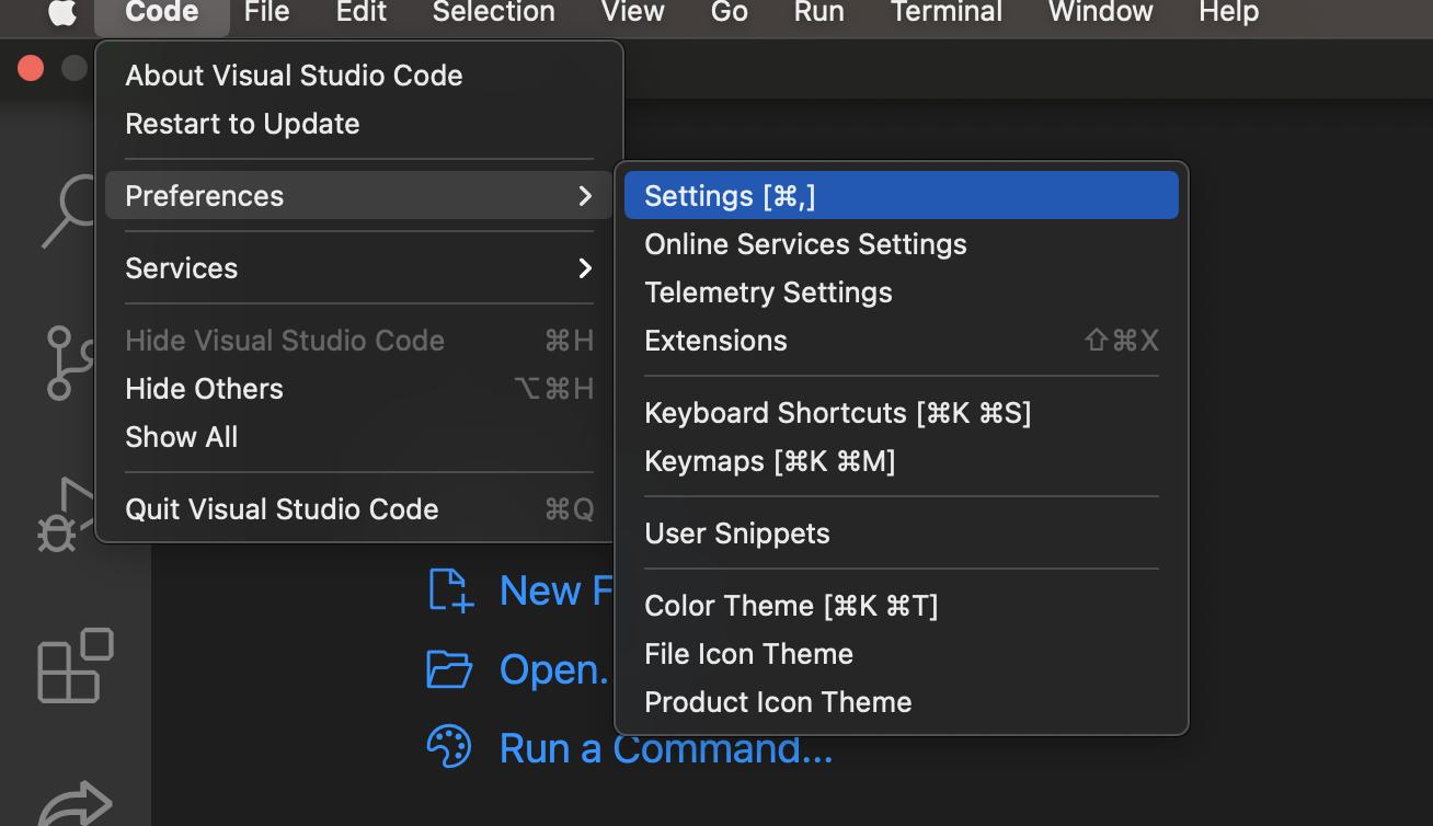 vs code setings